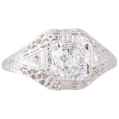 Antique Old European Cut Diamond and White Gold Filigree Solitaire Ring