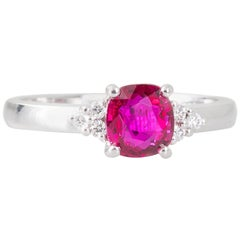 GIA Certified Unheated Mozambique 1.01 Carat Ruby and Diamond Ring