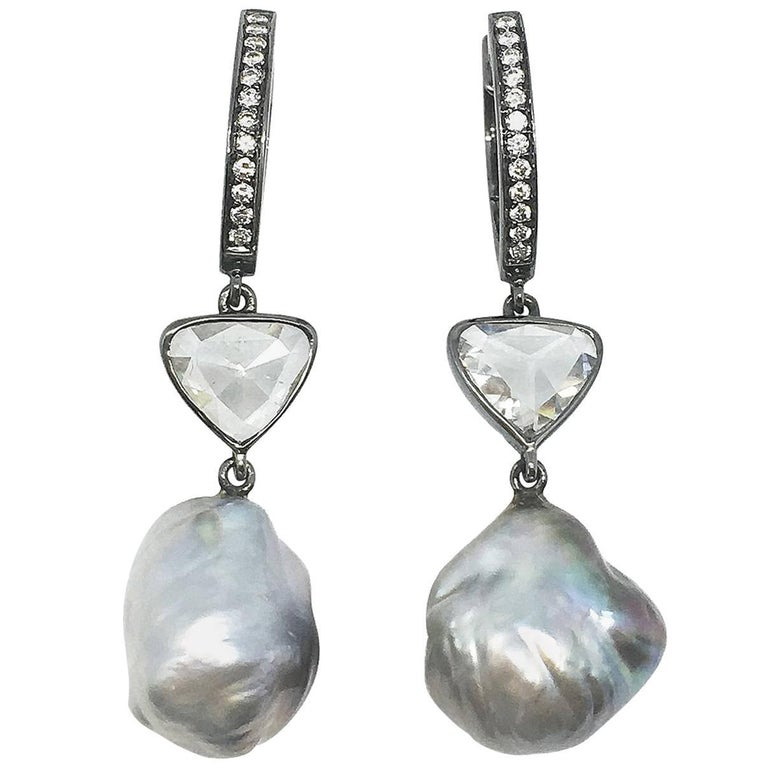 Baroque Pearl and Diamond Earrings For Sale