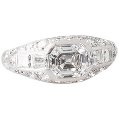 Art Deco 1.10 Carat Old Emerald Cut Diamond and Platinum Ring