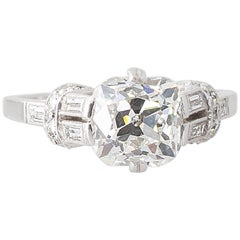 Art Deco 2.01 Carat GIA Certified Old Cushion Cut Diamond Engagement Ring