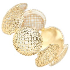Carla Amorim 18 Karat Yellow Gold Cabochon Clear Crystal Quartz Bracelet