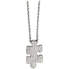 Akillis Puzzle Pendant 18 Karat White Gold White Diamonds Small Size