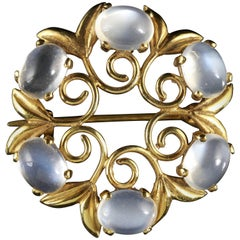 Antique Victorian Moonstone Gold Brooch, circa 1900
