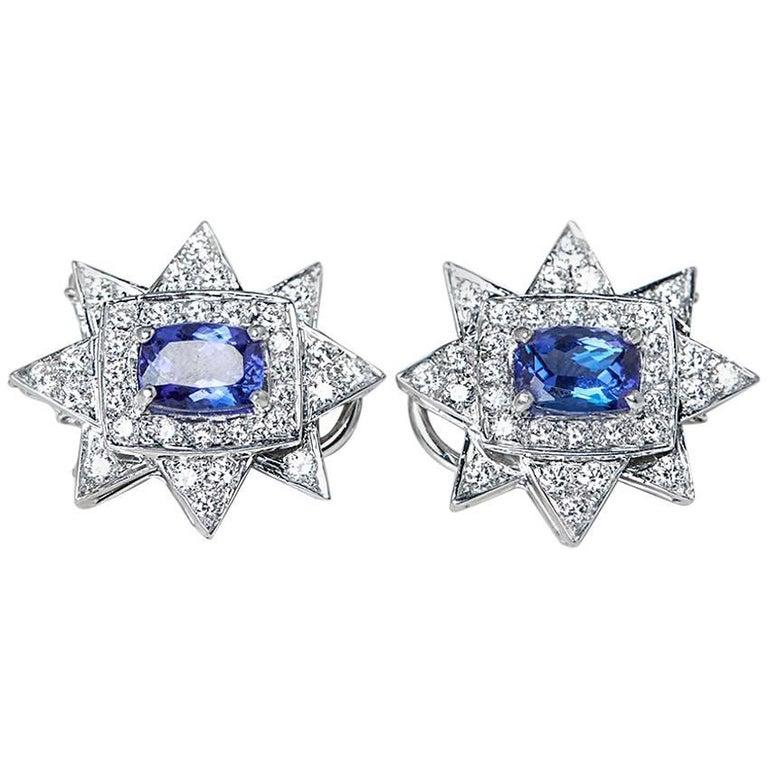 18 Karat White Gold Tanzanite Diamond Star Earrings