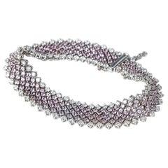 Asprey 18 Karat White Gold Pink Sapphire Diamond Bracelet