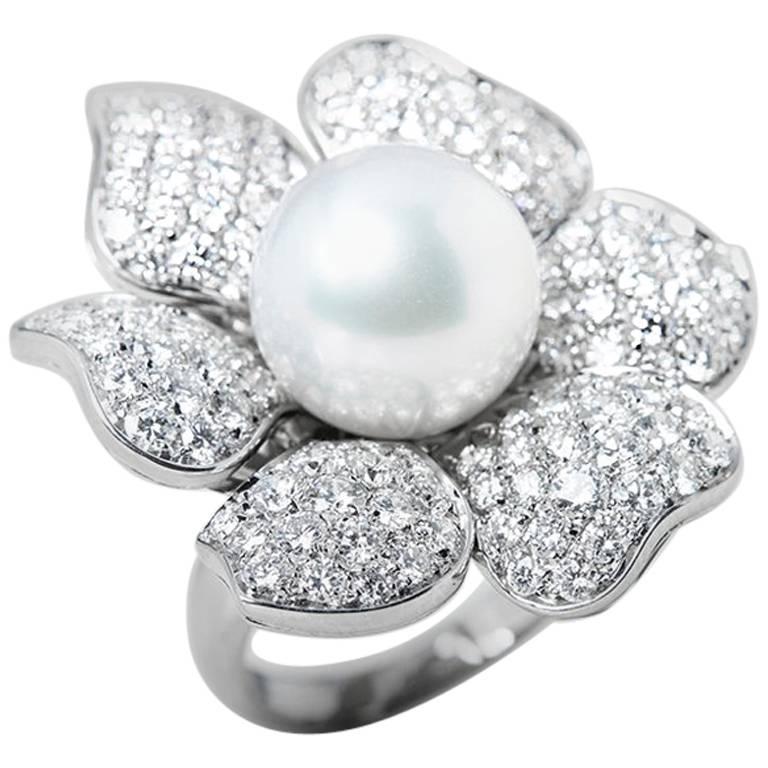 Picchiotti south sea pearl diamond gold flower ring at 1stdibs picchiotti style 18 karat white gold south sea pearl diamond flower ring mightylinksfo