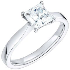 GIA Certified 2.01 Carat Princess Cut Solitaire Diamond Platinum Ring