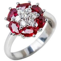 Camdame 18 Karat White Gold Ruby Diamond Floral Design Cocktail Ring