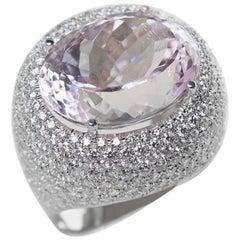 18 Karat White Gold Oval Cut Kunzite Diamond Cocktail Ring