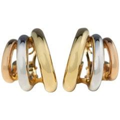 David Morris Tri Color Gold Earrings