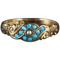 Antique Victorian Turquoise Pearl Ring Dated 1901, 18 Carat Gold