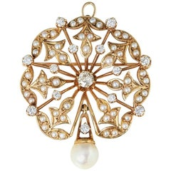 K. Goldschmidt Diamond Pearl Brooch