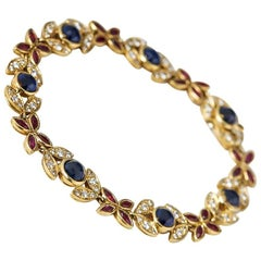 Fasoli 18 Karat Yellow Gold Sapphire Ruby Diamond Bracelet