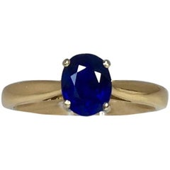 GIA Certified 1.31 Carat Untreated Blue Sapphire Solitaire Ring, 18 Karat Gold