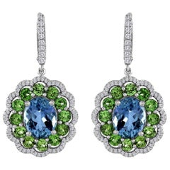 Award Winning Aquamarine Grossular Garnet Diamond Earrings