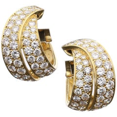 Van Cleef & Arpels Elegant Diamond Gold Hoop Earrings
