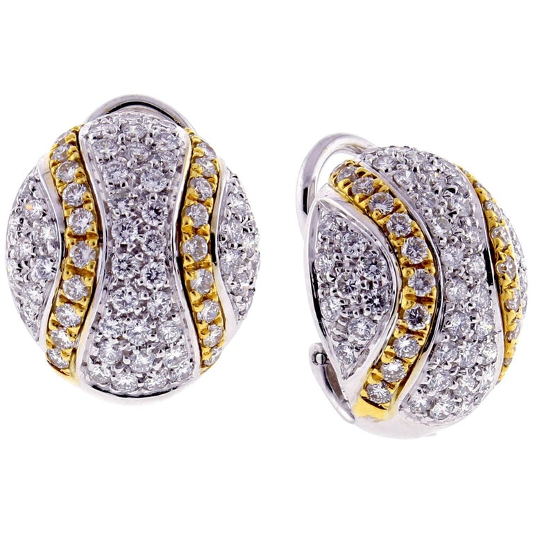 Damiani Diamond White And Yellow Gold Earrings For