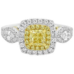 Certified Fancy Intense Yellow VS Diamond Double Halo Two Color Gold Ring