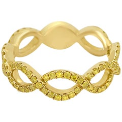 Natural Fancy Yellow Diamond Twist Rope Stackable Gold Band Ring
