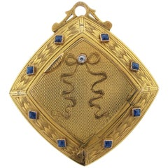 Antique Art Nouveau Sapphire and Diamond Mirrored Compact
