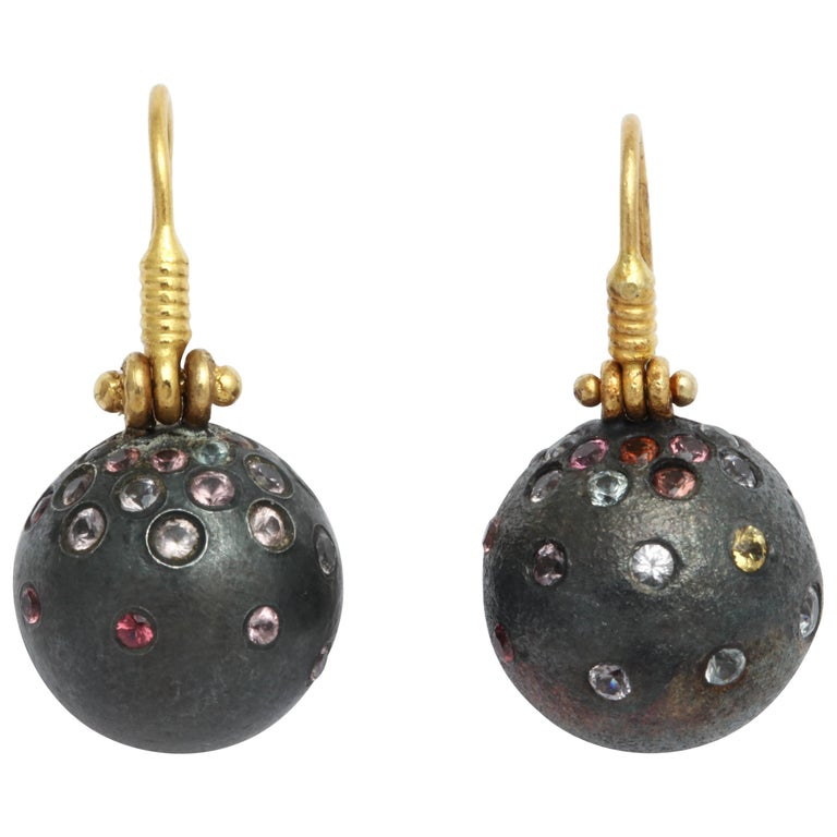 Rhodium Plated Silver Spinel Gold Earrings