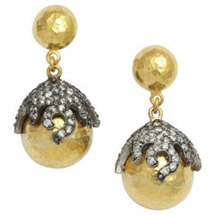 Gold Rhodium Plated Silver Diamond Starfish Globe Earrings