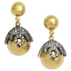 Gold Rhodium Plated Silver Diamond Starfish Globe Earrings