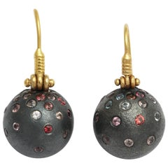 Rhodium Plated Silver Spinel and Gold Earrings