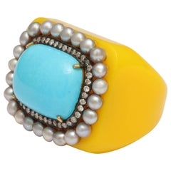 Reconstituted Turquoise Pearl Diamond Sunny Ring