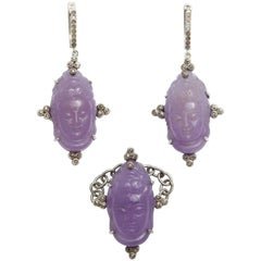 Lavendar Jade Diamond Silver Pendant Earrings and Ring