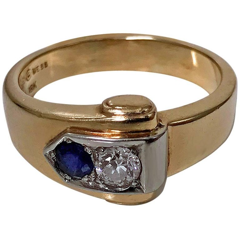 Sapphire and Diamond Ring, 20th Century For Sale
