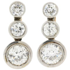 Vintage Old Cut Diamonds Platinum Gold Earrings