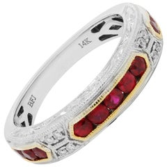 Ruby Round Diamond Engraved Filigree Two Color Gold Band Ring