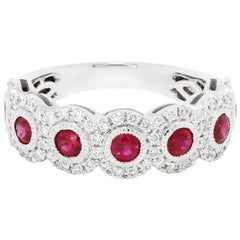 Ruby Round White Diamond Halo Filigree Gold Band Cocktail Fashion Ring