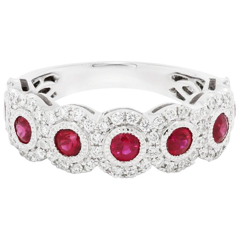 Ruby Round Diamond Halo Filigree Gold Band Ring