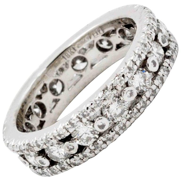 2.24 Carat Diamond Eternity Band 18 Karat White Gold