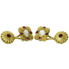 Victorian Tiffany & Co. Moonstone Ruby Yellow Gold Cufflinks
