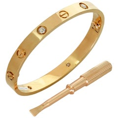 Cartier Love Four Diamond Rose Gold Bracelet, New Model Box Papers. Sz.16