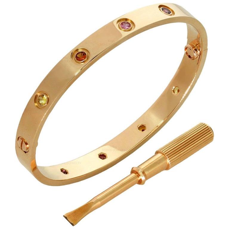 Cartier Love Ten Gemstone Gemstone Rose Gold Bracelet Sz.17 Box Papers, New Mod 1