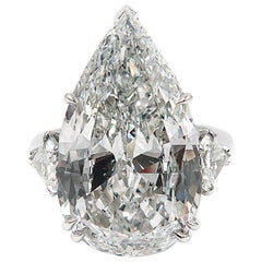 GIA Certified 10.07 Pear Shaped Diamond Engagement Ring