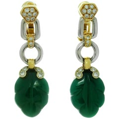 Cartier Green Onyx Diamond Yellow and White Gold Earrings