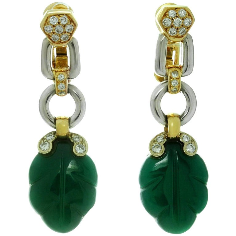 Cartier Green Onyx Diamond Yellow and White Gold Earrings 1
