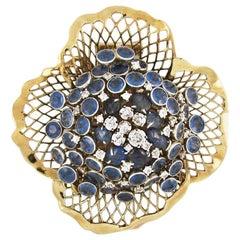 Mid-Century Seaman Schepps Diamond Sappire Gold Brooch