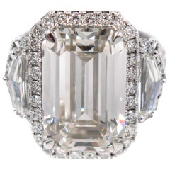 GIA Certified 10.17 Carat Emerald Cut Diamond Engagement Ring