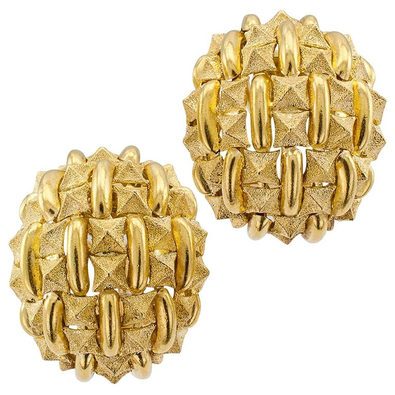 1970s Domed Textured Gold Earrings