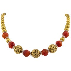 Victorian 1890s Carved Carnelian and Textured Gold Bead Necklace