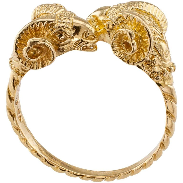 Lalaounis 1980s Twin Ram Heads Gold Ring 1