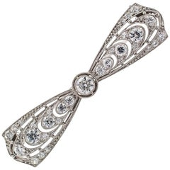 T B Starr Edwardian Diamond Platinum Bow Brooch