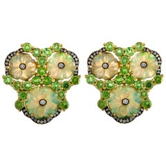 Carved Opal Mint Garnet Diamond Gold Clip Post Earrings